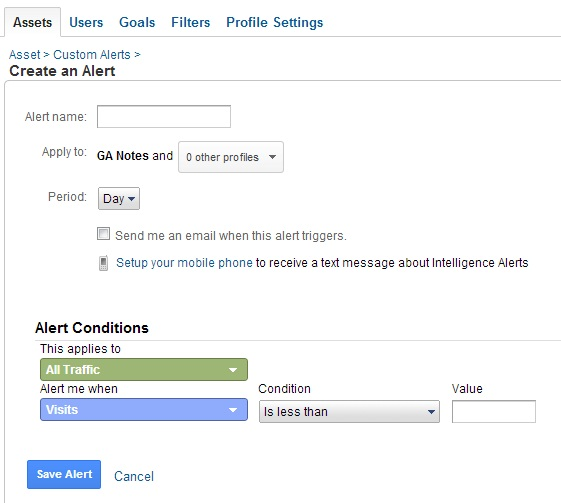 Setting up custom alerts in Google Analytics