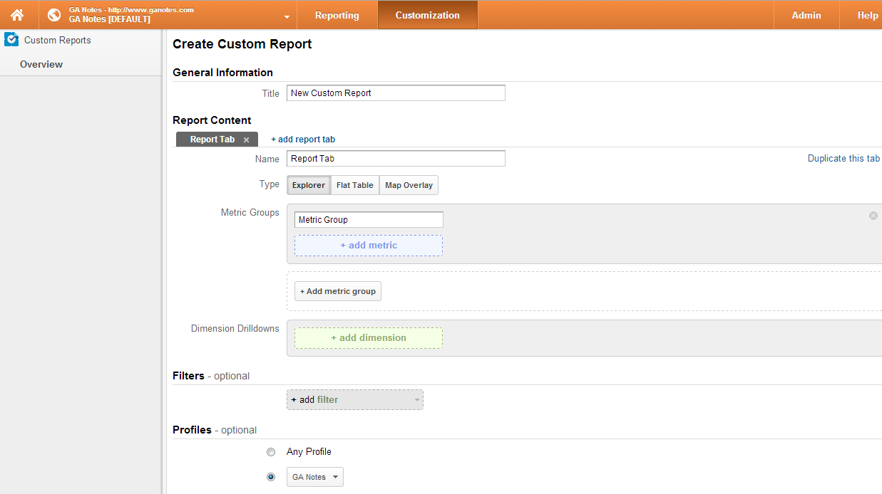 Custom reports in Google Analytics