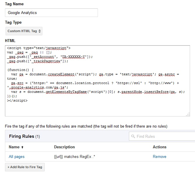 Google Analytics script in Google Tag Manager