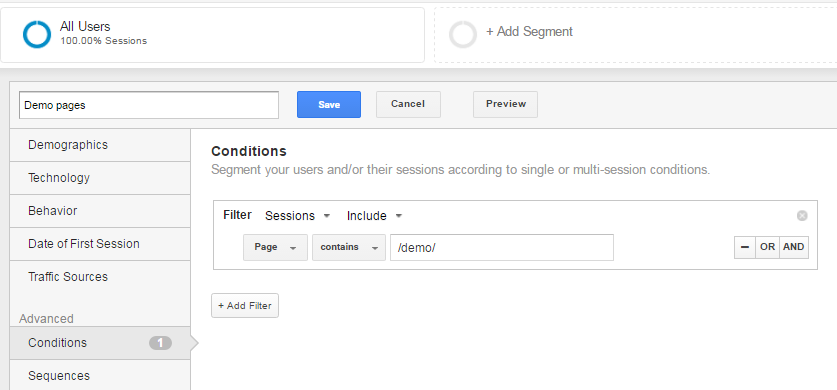 demo pages segment